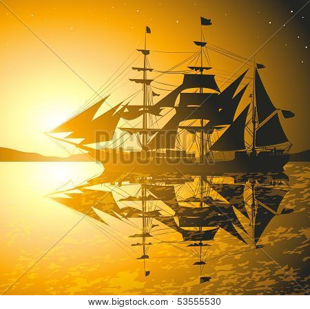 Old Ship Sailing Open Seas