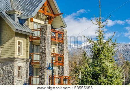 Tall apartment building in Whistler, Vancouver, Canada. Residential architecture