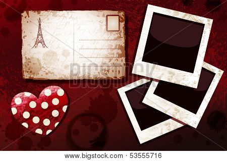 Blanks instant photo, postal card and heart, dark grunge background. Happy Valentine's Day