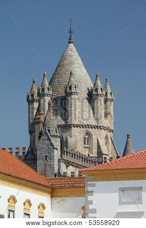 Evora's Gothic cathedral tower - south of Portugal UNESCO heritage