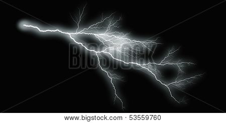 White Thunder On Black Background