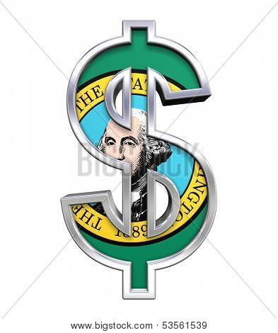 Dollar sign with Washington flag isolated on white. Computer generated 3D photo rendering.