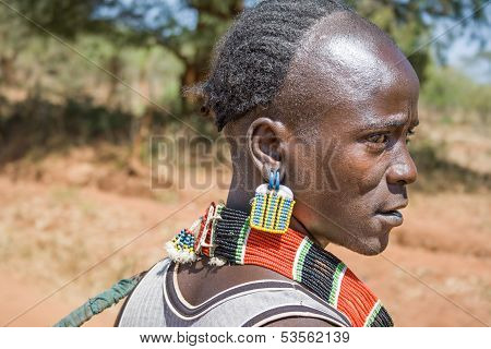 Closeup Of Man Of The Ethnic Hamer-banna Group, Ethiopia, Africa
