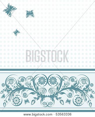 Vector Illustration Of A  Cover Background With Flower Ornament And Butterflies