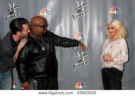 LOS ANGELES - NOV 7:  Adam Levine, CeeLo Green, Christina Aguilera at the The Voice Season 5 Judges Photocall at Universal Studios Lot on November 7, 2013 in Los Angeles, CA