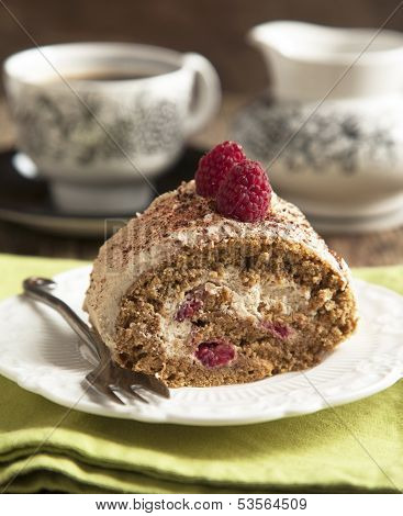 Coffee Roll With Raspberry