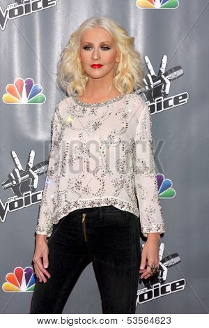 LOS ANGELES - NOV 7:  Christina Aguilera at the The Voice Season 5 Judges Photocall at Universal Studios Lot on November 7, 2013 in Los Angeles, CA