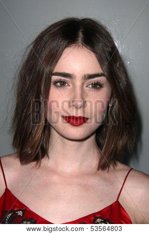 LOS ANGELES - NOV 7:  Lily Collins at the Flaunt Magazine November Issue Party at Hakkasan on November 7, 2013 in Beverly Hills, CA\