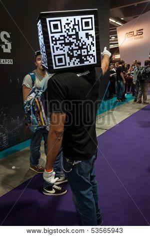Qr Code Head Man At Games Week 2013 In Milan, Italy