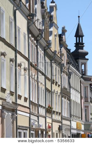Bright Line Of The Houses In The City, Opole, Poland