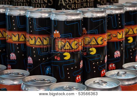 Pac Man Soft Drink Cans At Games Week 2013 In Milan, Italy