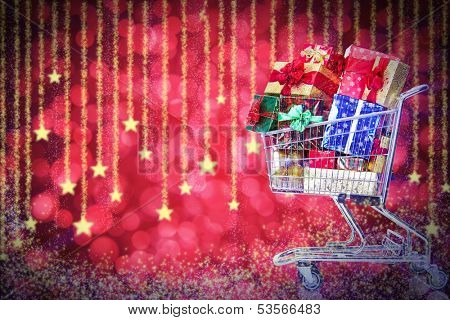 Christmas shopping cart with gifts. Boxing day.