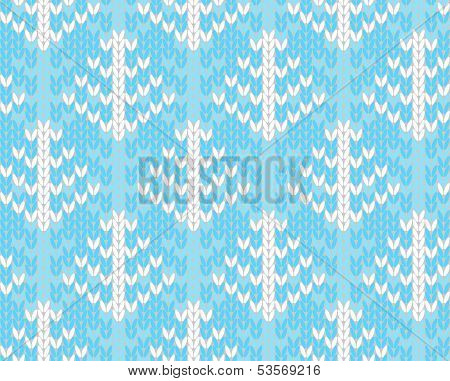 Vector Seamless Knitted Pattern With Trees