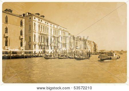 Retro Postcard, Bots And More Gondola On Grand Canal