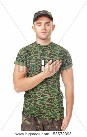 Young Army Soldier Swear Solemnly