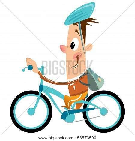 Cartoon Boy With Backpack And Helmet Riding Turquoise Bike Smiling