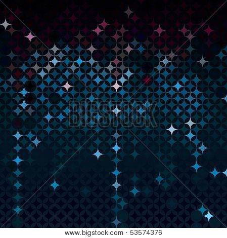 Abstract mosaic in dark neon blue colors