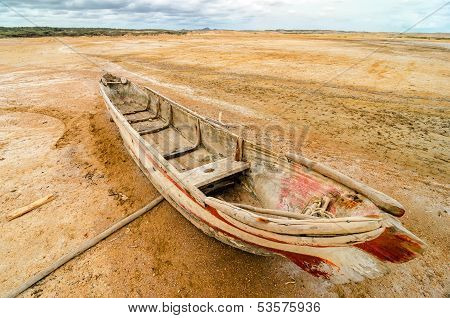 Old Canoe In A Desert