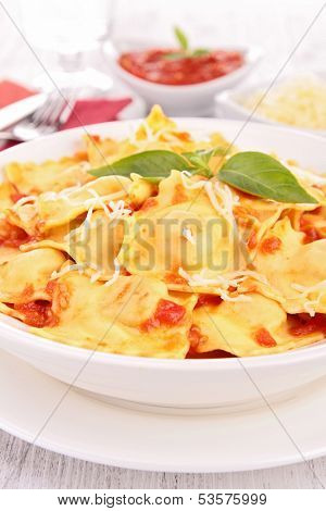 ravioli with tomato and gruyere