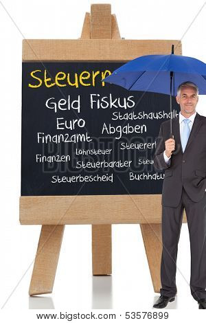 Composite image of businessman smiling at camera and holding blue umbrella in front of german terms about taxes