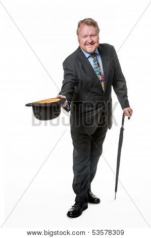 Businessman With Bowler Hat & Brolly - On White