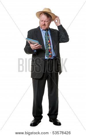 Man On Business Trip Consults Tablet Computer - On White
