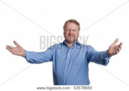 Friendly Middle Aged Bearded Guy In Blue Shirt - On White