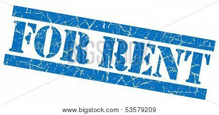 For Rent Grunge Blue Stamp