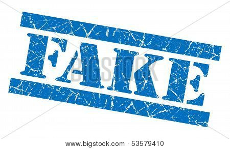 Fake Grunge Blue Stamp