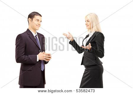 Two businesspeople having conversation together isolated on white background