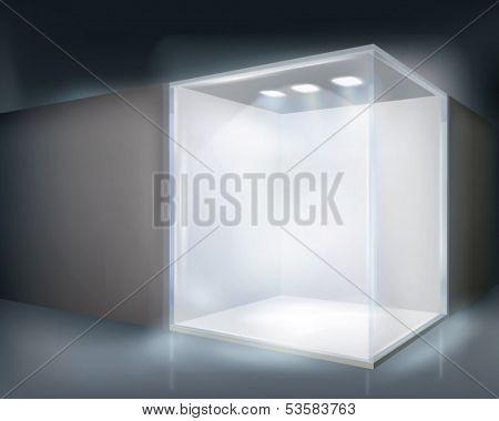 Illuminated shop window. Vector illustration.
