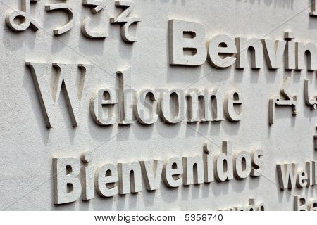 Welcome Board With Greeting On Foreign Languages