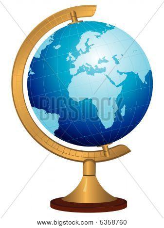 Brass Globe With Hand Drawn World Map