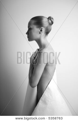 Elegant Girl With Sheet Of Paper