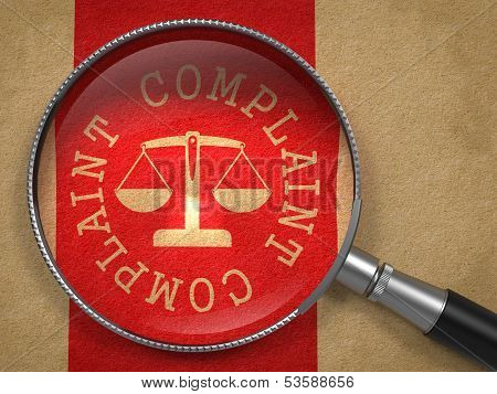 Magnifying Glass with Complaint Concept.