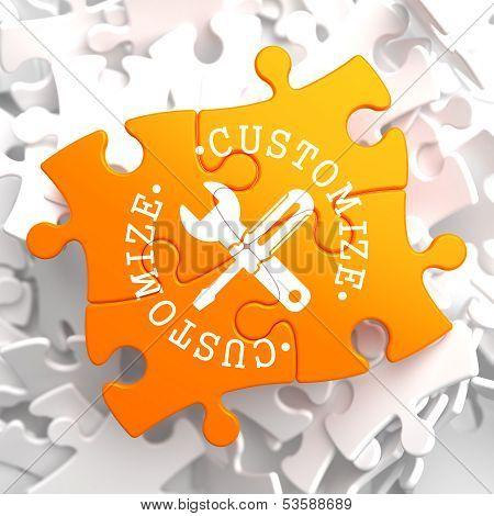 Customize Concept on Orange Puzzle.