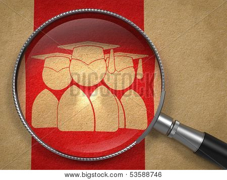 Magnifying Glass with Group of Graduates Icon.