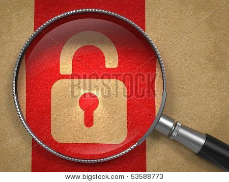 Magnifying Glass with Security Concept.