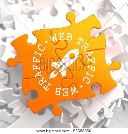 Web Traffic Concept on Orange Puzzle.