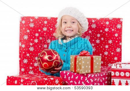 Funny Little Girl Around Christmas Boxes