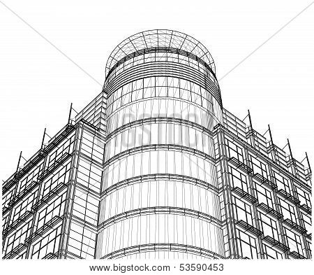Building Glass Corner Entrance Circle and Quadrant Vector