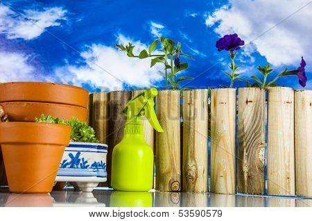 Gardening stuff with blue sky background