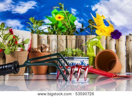 Garden, gardening theme with light blue background