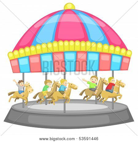 Children Having A Good Time In A Carousel With White Background