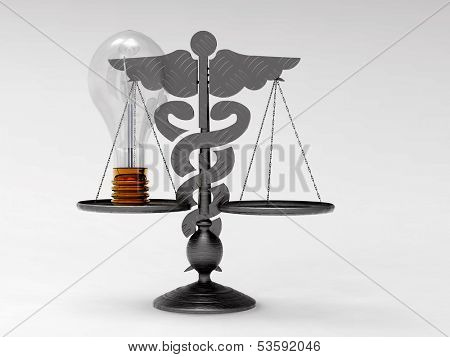 Scales of justice with electric bulb & medical sign