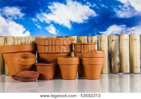 Work in garden, spring composition
