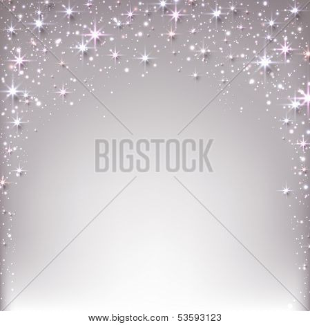 Silver christmas abstract texture background. Holiday illustration with stars and sparkles. Vector.