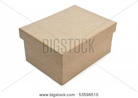 a cardboard box with lid on a white background