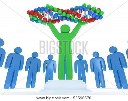 Blue people around green man with DNA chain. 3D.