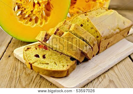 Fruitcake Pumpkin With Candied Fruits On A Board